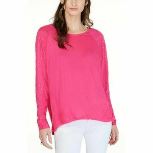 Michael Kors Ladies Studded-Sleeve Pink Top Sz XL